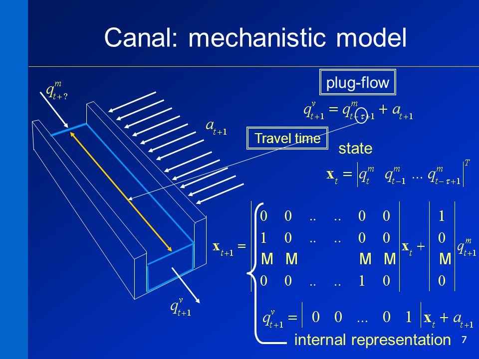 7 Canal: mechanistic model Travel time state internal representation plug-flow