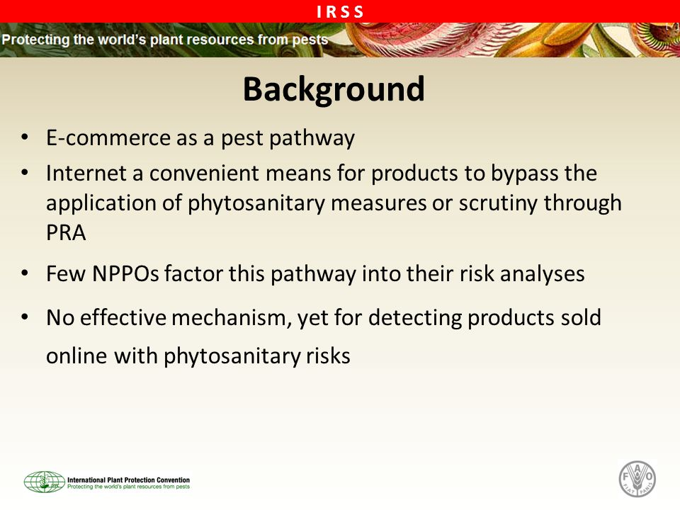 I R S S Background E-commerce as a pest pathway Internet a convenient means for products to bypass the application of phytosanitary measures or scrutiny through PRA Few NPPOs factor this pathway into their risk analyses No effective mechanism, yet for detecting products sold online with phytosanitary risks