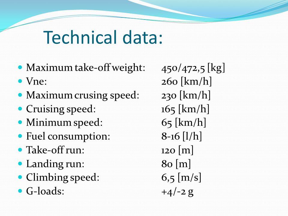 Technical data: Maximum take-off weight: 450/472,5 [kg] Vne:260 [km/h] Maximum crusing speed:230 [km/h] Cruising speed:165 [km/h] Minimum speed:65 [km