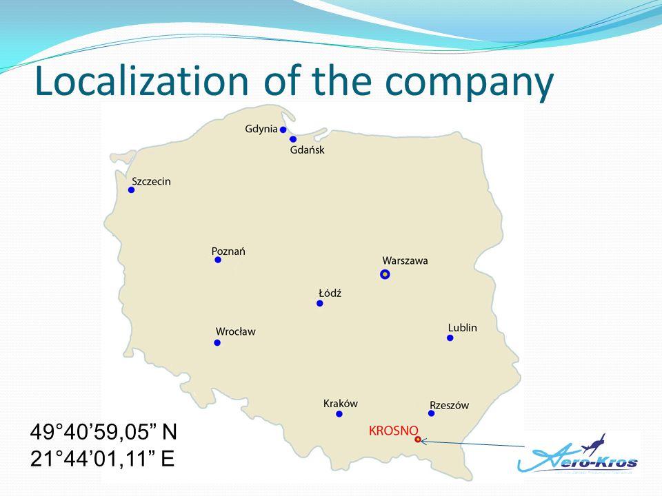 Localization of the company 49°4059,05 N 21°4401,11 E