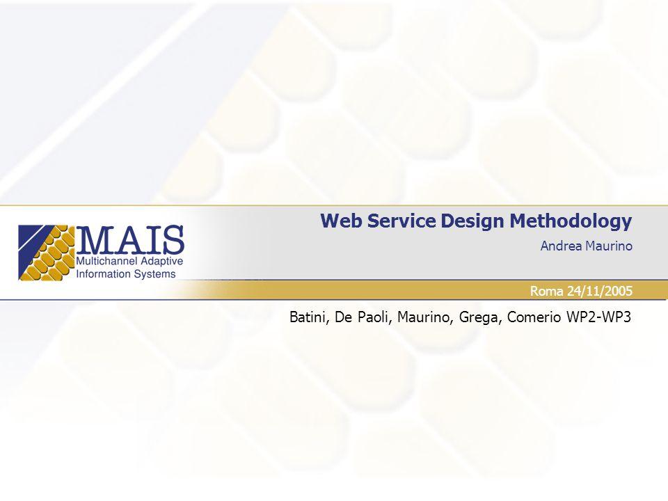 Andrea Maurino Web Service Design Methodology Batini, De Paoli, Maurino, Grega, Comerio WP2-WP3 Roma 24/11/2005
