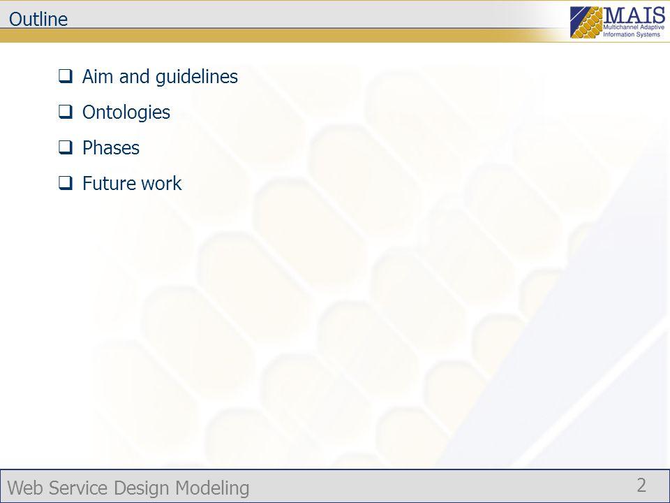 Web Service Design Modeling 3 The methodology The methodology provides a rationale for designing/re-designing of a Web service.