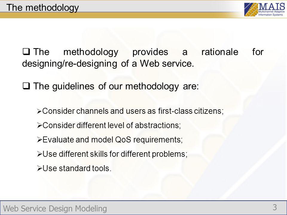 Web Service Design Modeling 14 Web Service Description Goal: transform UML diagrams into web services descriptions according to standard languages.