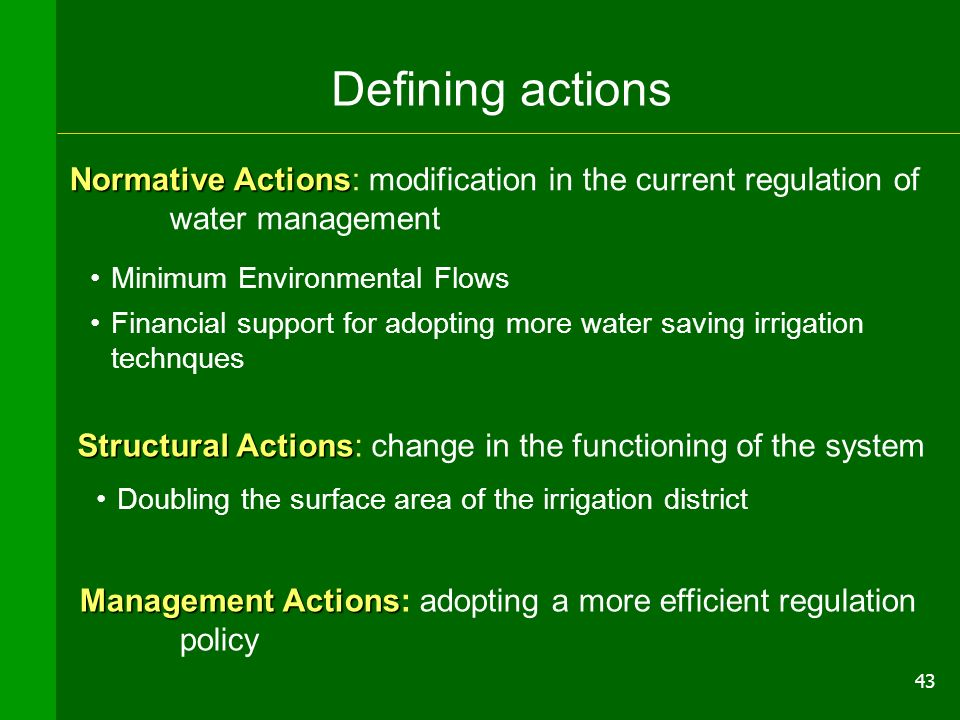 43 InterventiInterventi Defining actions Normative Actions Normative Actions: modification in the current regulation of water management Minimum Envir