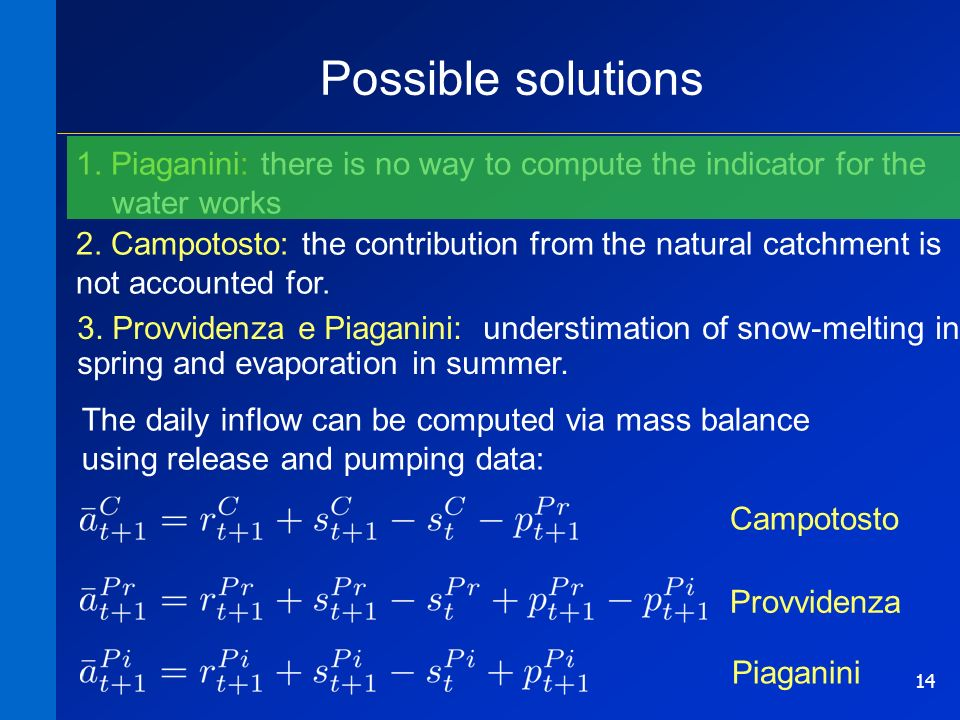 14 Possible solutions 1. Piaganini: there is no way to compute the indicator for the water works 2.