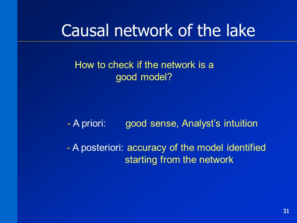 31 - A priori: good sense, Analysts intuition - A posteriori: accuracy of the model identified starting from the network How to check if the network is a good model.