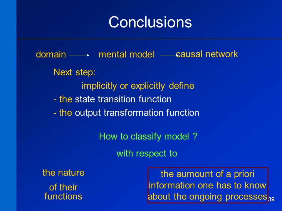 39 Conclusions domainmental model causal network Next step: implicitly or explicitly define - the state transition function - the output transformatio