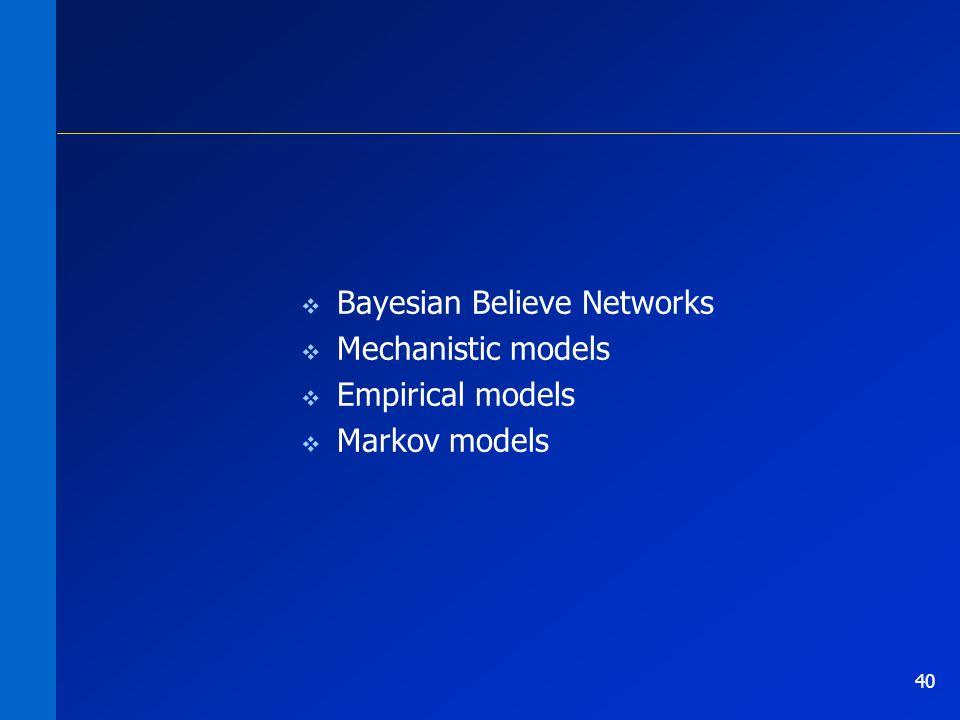 40 Bayesian Believe Networks Mechanistic models Empirical models Markov models