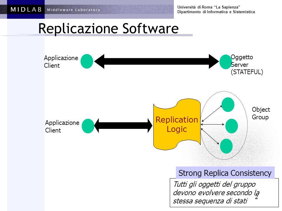 Università di Roma La Sapienza Dipartimento di Informatica e Sistemistica 2 Replicazione Software Applicazione Client Oggetto Server (STATEFUL) Object Group Replication Logic Applicazione Client Tutti gli oggetti del gruppo devono evolvere secondo la stessa sequenza di stati Strong Replica Consistency