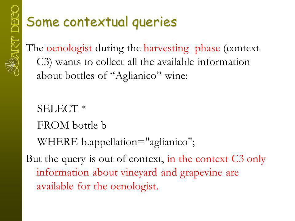Some contextual queries The oenologist during the harvesting phase (context C3) wants to collect all the available information about bottles of Aglian