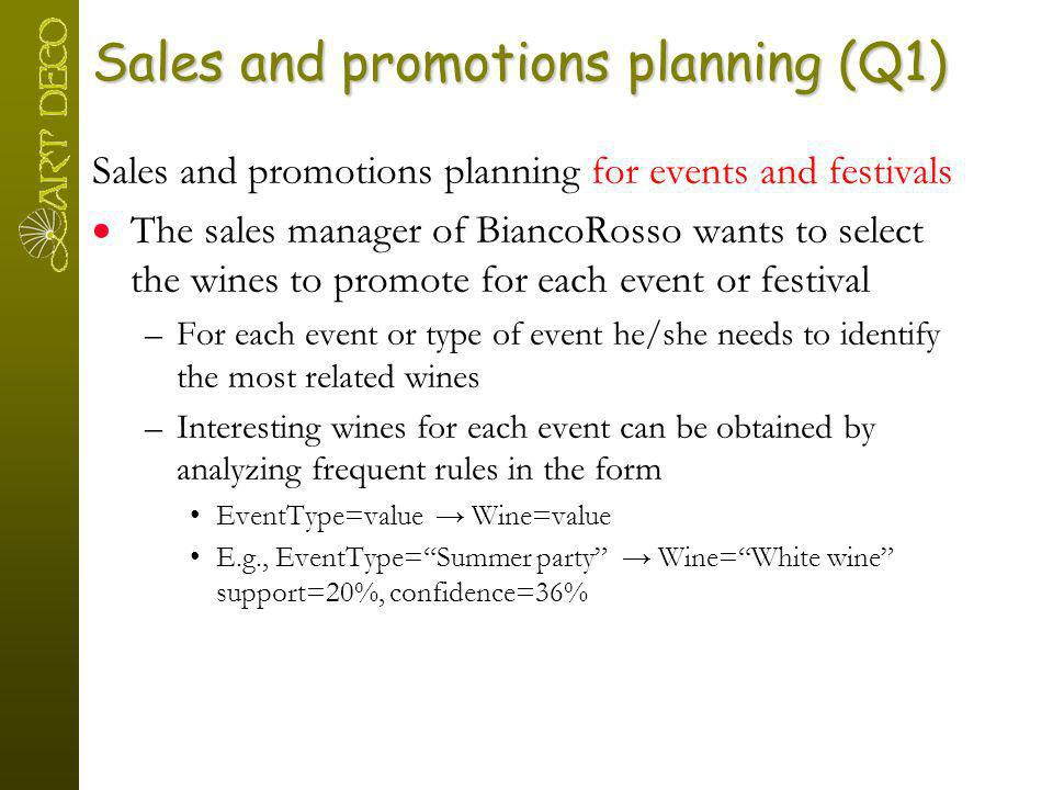 Sales and promotions planning (Q1) Sales and promotions planning for events and festivals The sales manager of BiancoRosso wants to select the wines t