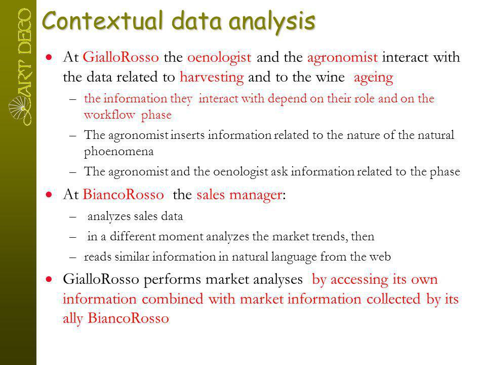 Contextual data analysis At GialloRosso the oenologist and the agronomist interact with the data related to harvesting and to the wine ageing –the inf