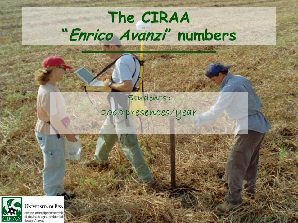 The CIRAAEnrico Avanzi numbers Students : 2000 presences/year