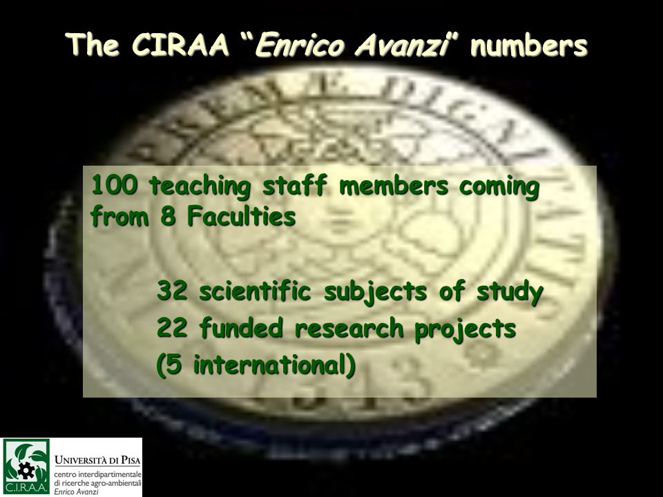 The CIRAA Enrico Avanzi numbers 100 teaching staff members coming from 8 Faculties 32 scientific subjects of study 32 scientific subjects of study 22