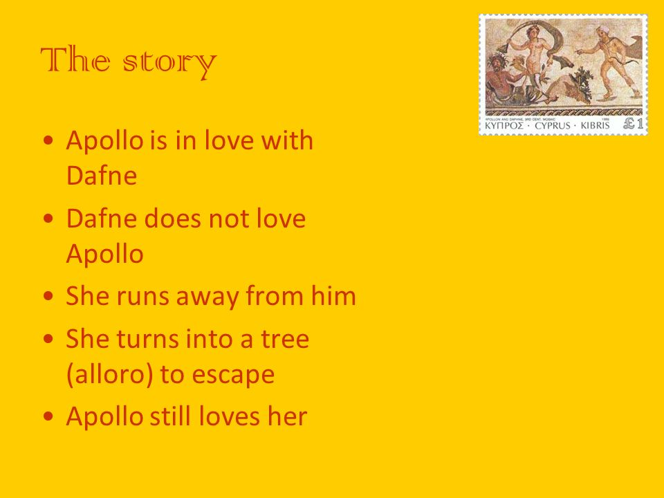 The story Apollo is in love with Dafne Dafne does not love Apollo She runs away from him She turns into a tree (alloro) to escape Apollo still loves h