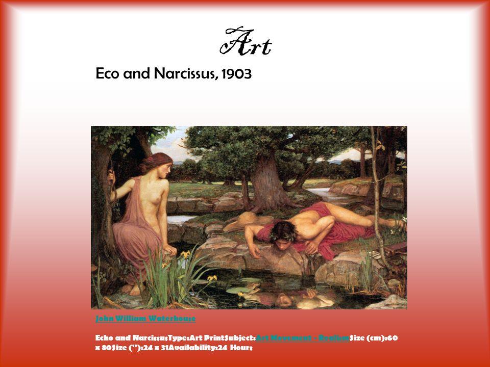 Art Eco and Narcissus, 1903 John William Waterhouse John William Waterhouse Echo and NarcissusType:Art PrintSubject:Art Movement - RealismSize (cm):60 x 80Size ( ):24 x 31Availability:24 HoursArt Movement - Realism