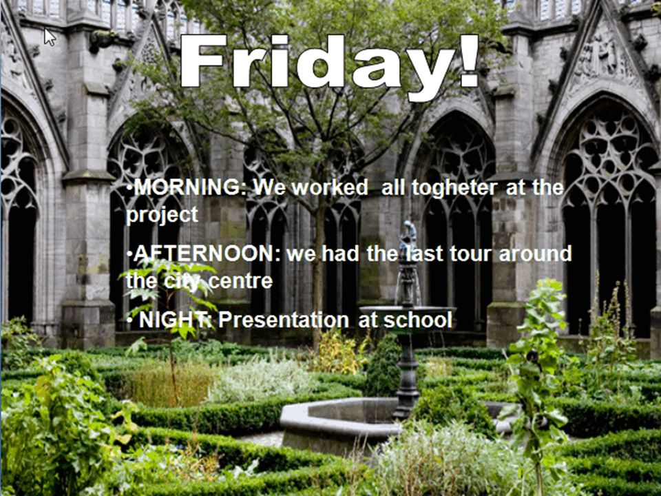 MORNING: We worked all togheter at the project AFTERNOON: we had the last tour around the city centre NIGHT: Presentation at school