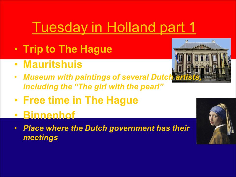 Tuesday in Holland part 1 Trip to The Hague Mauritshuis Museum with paintings of several Dutch artists, including the The girl with the pearl Free tim