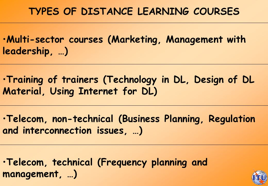 Multi-sector courses (Marketing, Management with leadership, …) Training of trainers (Technology in DL, Design of DL Material, Using Internet for DL)