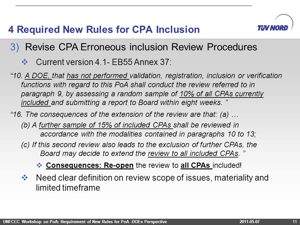 2011-03-12Project Cycle – Programme of Activities2011-03-12Project Cycle – Programme of Activities11 3)Revise CPA Erroneous inclusion Review Procedure