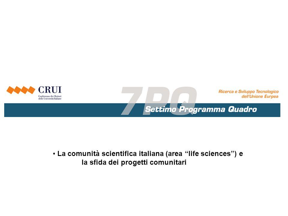La comunità scientifica italiana (area life sciences) e la sfida dei progetti comunitari