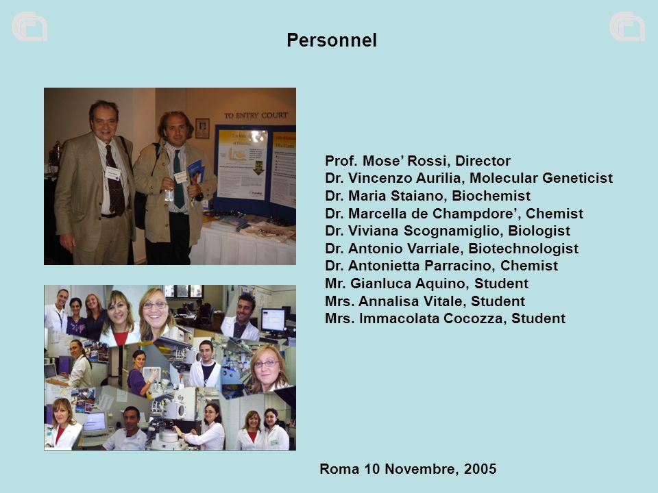 Personnel Prof. Mose Rossi, Director Dr. Vincenzo Aurilia, Molecular Geneticist Dr. Maria Staiano, Biochemist Dr. Marcella de Champdore, Chemist Dr. V