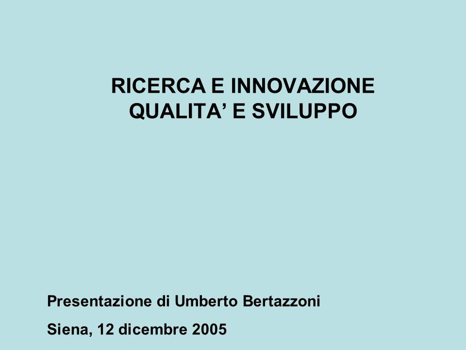 RICERCA E INNOVAZIONE QUALITA E SVILUPPO Presentazione di Umberto Bertazzoni Siena, 12 dicembre 2005