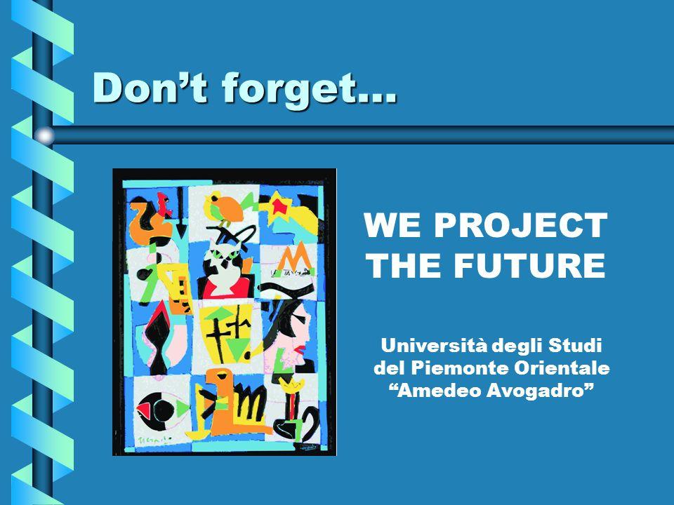 Dont forget… WE PROJECT THE FUTURE Università degli Studi del Piemonte Orientale Amedeo Avogadro