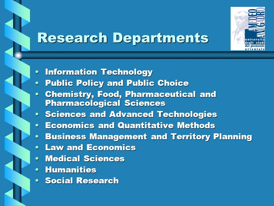 Research Departments Information TechnologyInformation Technology Public Policy and Public ChoicePublic Policy and Public Choice Chemistry, Food, Pharmaceutical and Pharmacological SciencesChemistry, Food, Pharmaceutical and Pharmacological Sciences Sciences and Advanced TechnologiesSciences and Advanced Technologies Economics and Quantitative MethodsEconomics and Quantitative Methods Business Management and Territory PlanningBusiness Management and Territory Planning Law and EconomicsLaw and Economics Medical SciencesMedical Sciences HumanitiesHumanities Social ResearchSocial Research