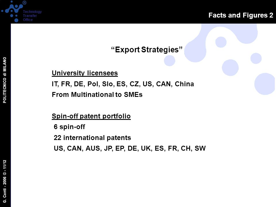 G. Conti - 2006 © - 11/12 POLITECNICO di MILANO Technology Transfer Office Facts and Figures 2 Export Strategies University licensees IT, FR, DE, Pol,