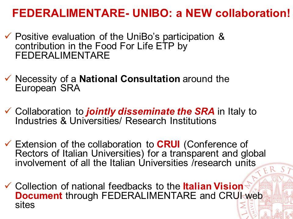 FEDERALIMENTARE- UNIBO: a NEW collaboration.