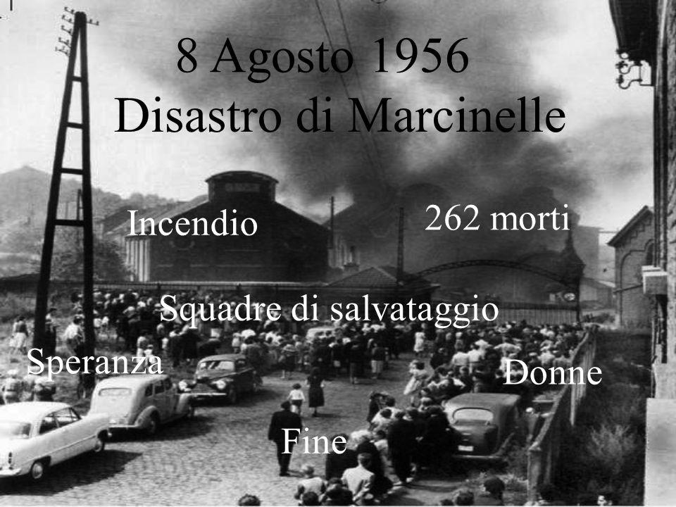 8 Agosto 1956 Disastro di Marcinelle 262 morti Squadre di salvataggio Donne Speranza Fine Incendio