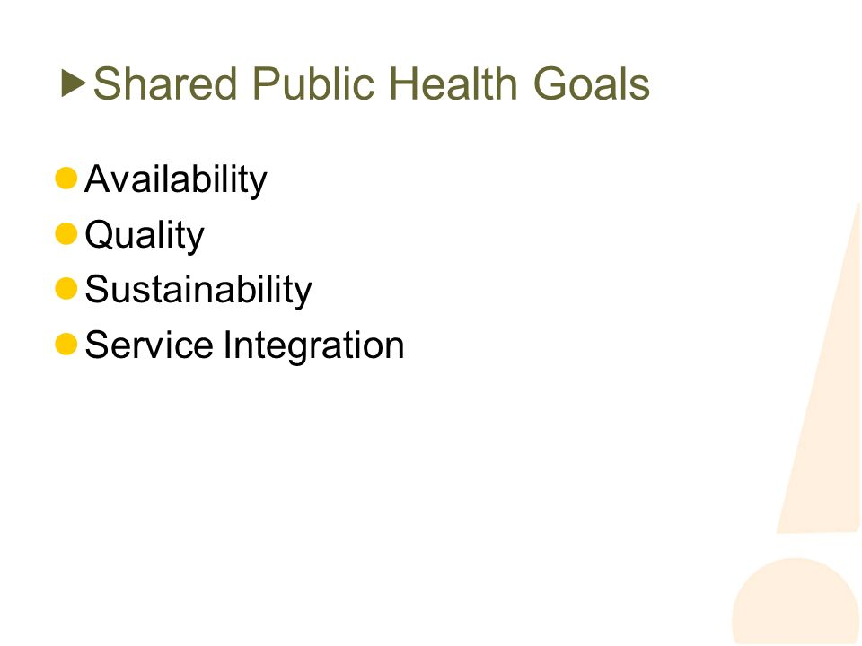 Shared Public Health Goals Availability Quality Sustainability Service Integration