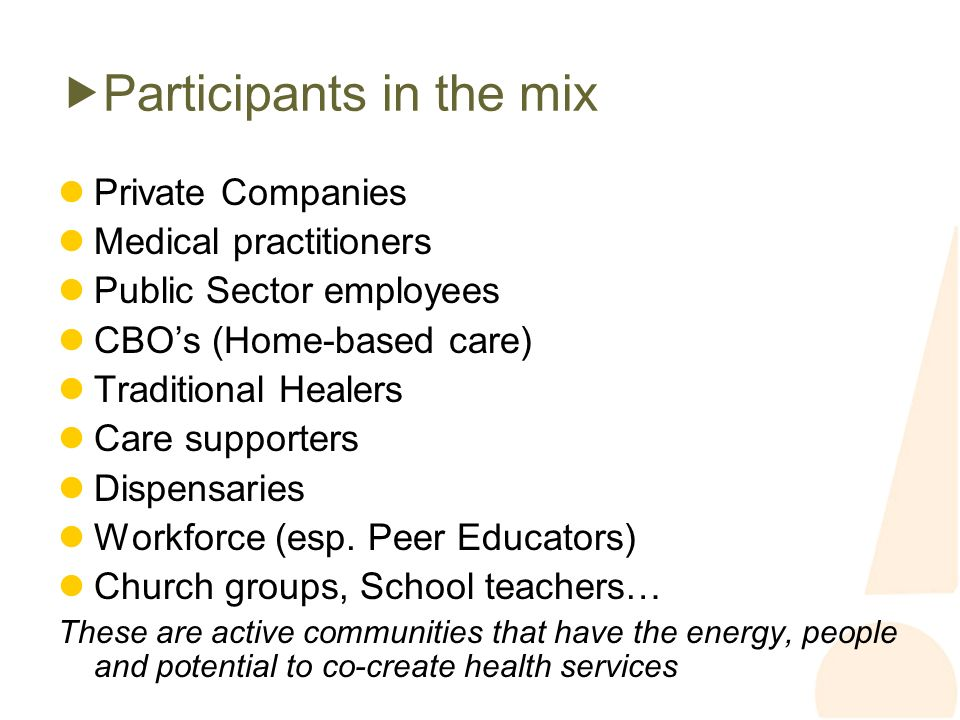 Participants in the mix Private Companies Medical practitioners Public Sector employees CBOs (Home-based care) Traditional Healers Care supporters Dispensaries Workforce (esp.