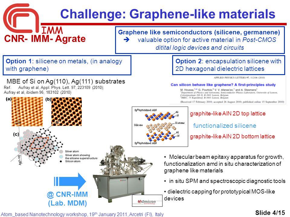 IMM Atom_based Nanotechnology workshop, 19 th January 2011, Arcetri (FI), Italy MBE of Si on Ag(110), Ag(111) substrates Ref. Aufray et al, Appl. Phys