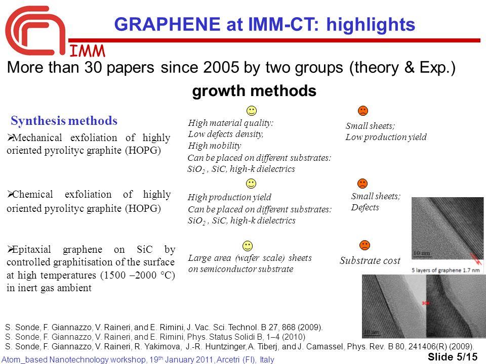 IMM Atom_based Nanotechnology workshop, 19 th January 2011, Arcetri (FI), Italy Synthesis methods Mechanical exfoliation of highly oriented pyrolityc