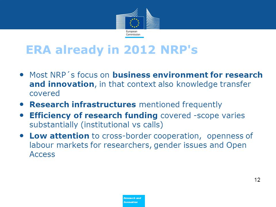Research and Innovation Research and Innovation 12 ERA already in 2012 NRP's Most NRP´s focus on business environment for research and innovation, in