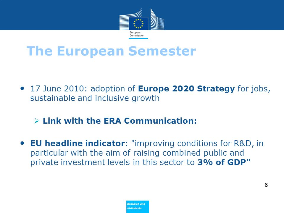 Research and Innovation Research and Innovation 6 The European Semester 17 June 2010: adoption of Europe 2020 Strategy for jobs, sustainable and inclu