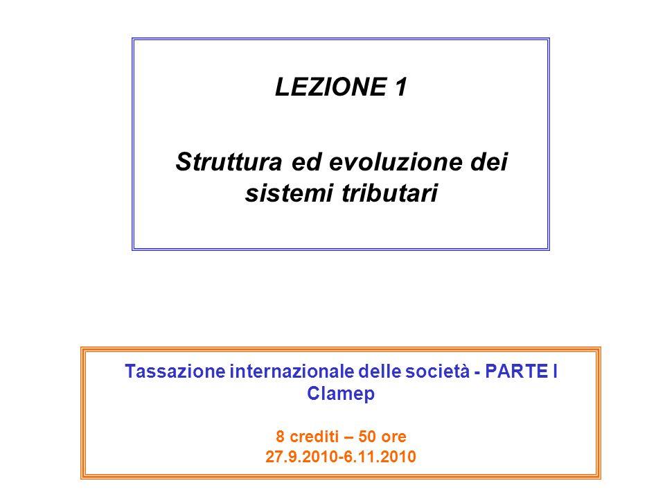 Tassazione internazionale delle società - PARTE I Clamep 8 crediti – 50 ore 27.9.2010-6.11.2010 LEZIONE 1 Struttura ed evoluzione dei sistemi tributar