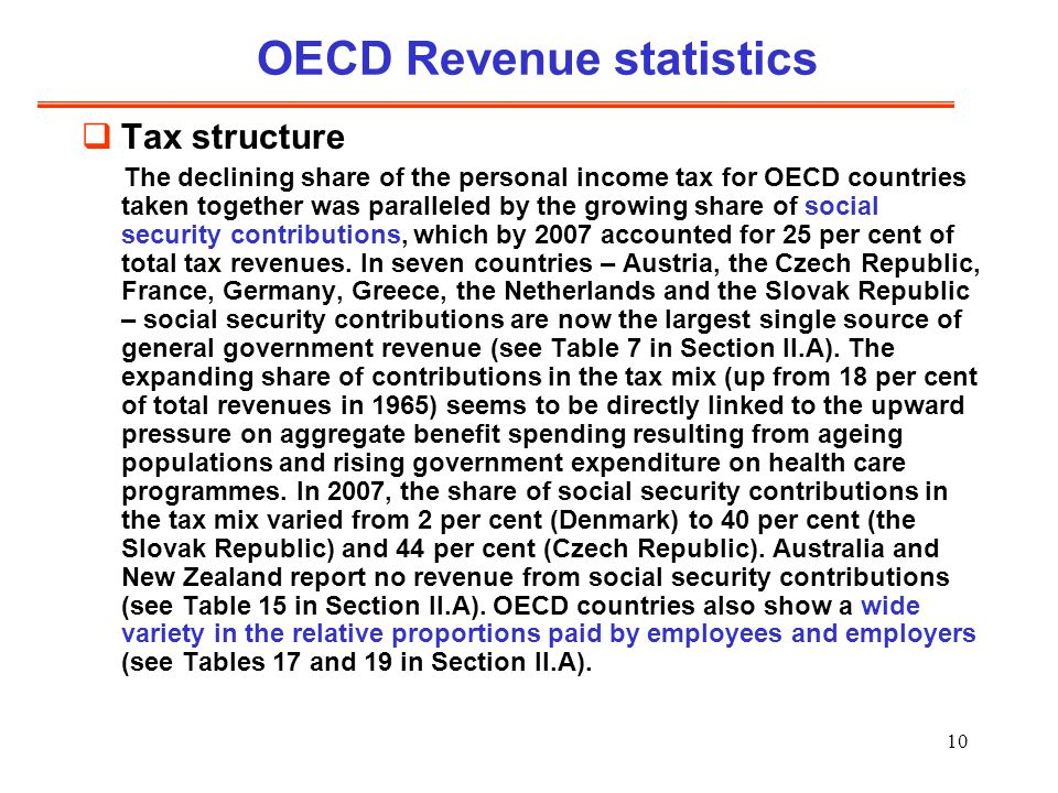 10 OECD Revenue statistics Tax structure The declining share of the personal income tax for OECD countries taken together was paralleled by the growing share of social security contributions, which by 2007 accounted for 25 per cent of total tax revenues.