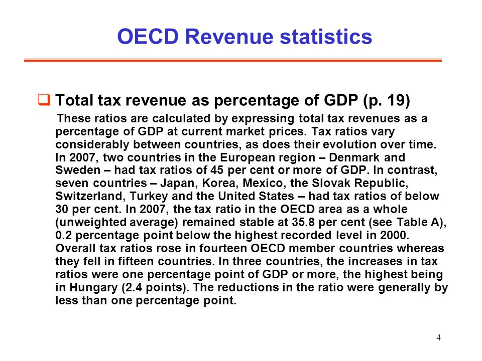 4 OECD Revenue statistics Total tax revenue as percentage of GDP (p.
