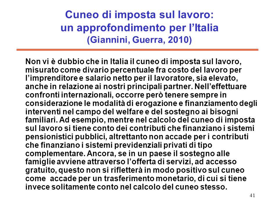 41 Cuneo di imposta sul lavoro: un approfondimento per lItalia (Giannini, Guerra, 2010) Non vi è dubbio che in Italia il cuneo di imposta sul lavoro,
