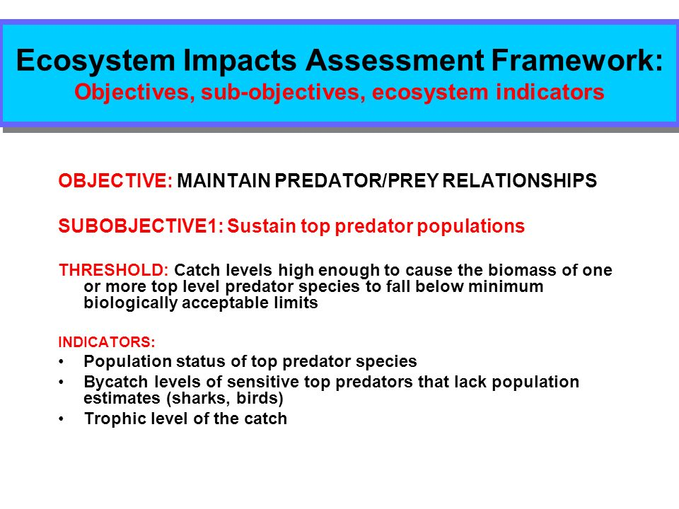 Ecosystem Impacts Assessment Framework: Objectives, sub-objectives, ecosystem indicators OBJECTIVE: MAINTAIN PREDATOR/PREY RELATIONSHIPS SUBOBJECTIVE1