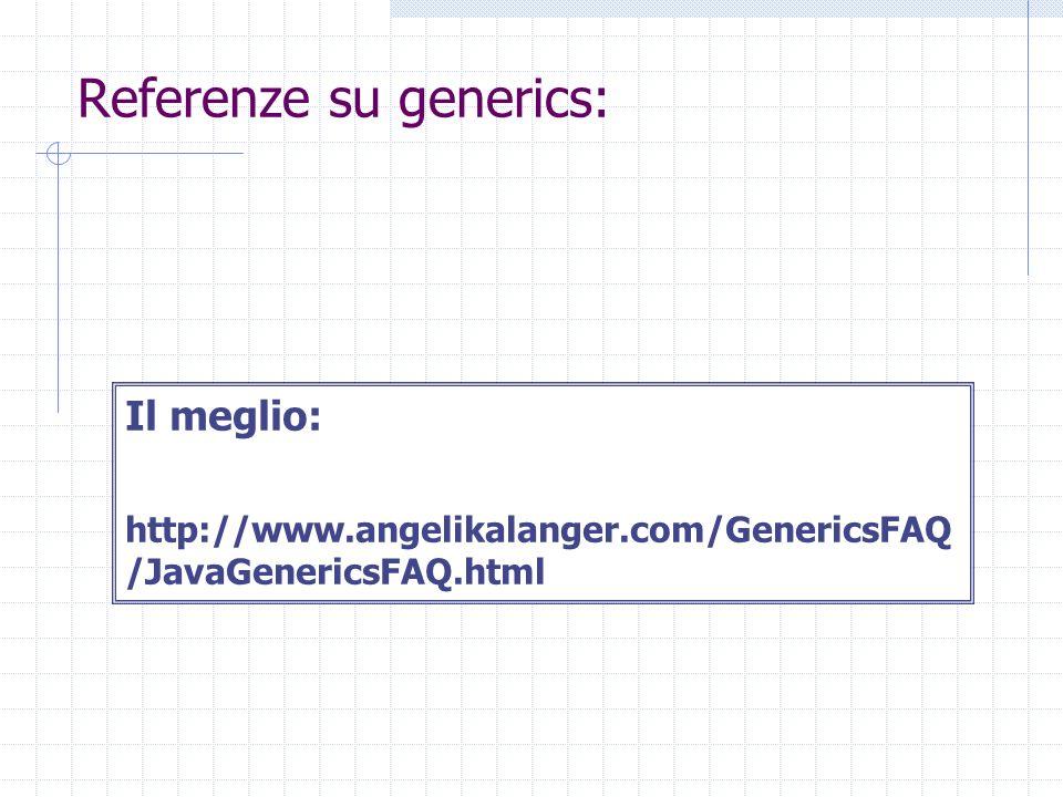 Referenze su generics: Il meglio: http://www.angelikalanger.com/GenericsFAQ /JavaGenericsFAQ.html