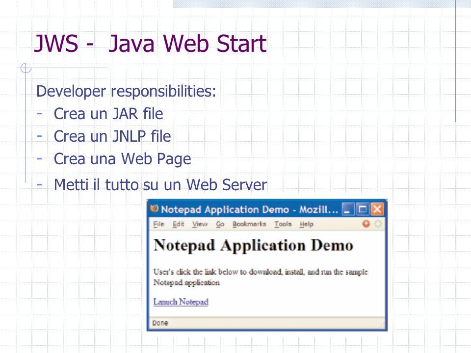 JWS - Java Web Start Developer responsibilities: - Crea un JAR file - Crea un JNLP file - Crea una Web Page - Metti il tutto su un Web Server