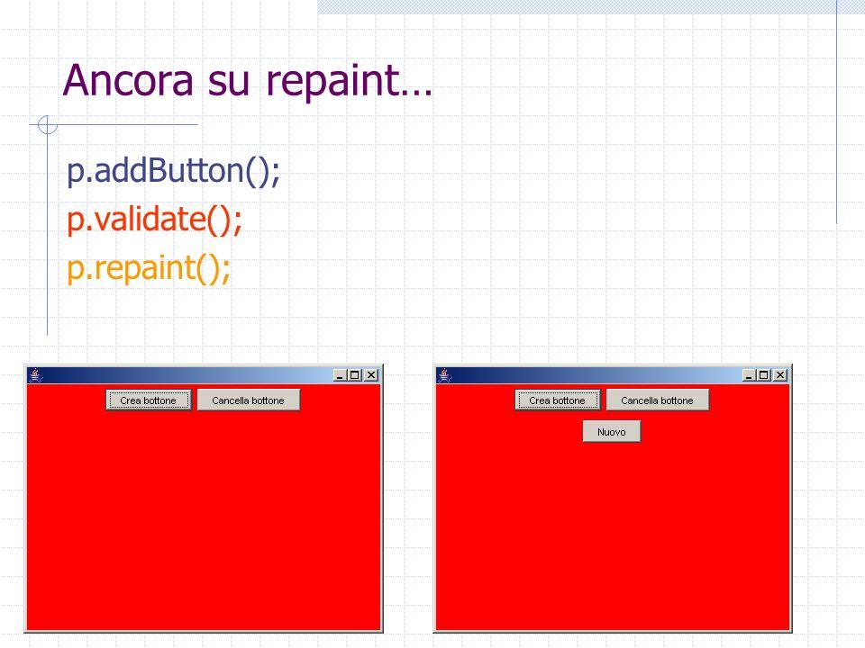Ancora su repaint… p.addButton(); p.validate(); p.repaint();