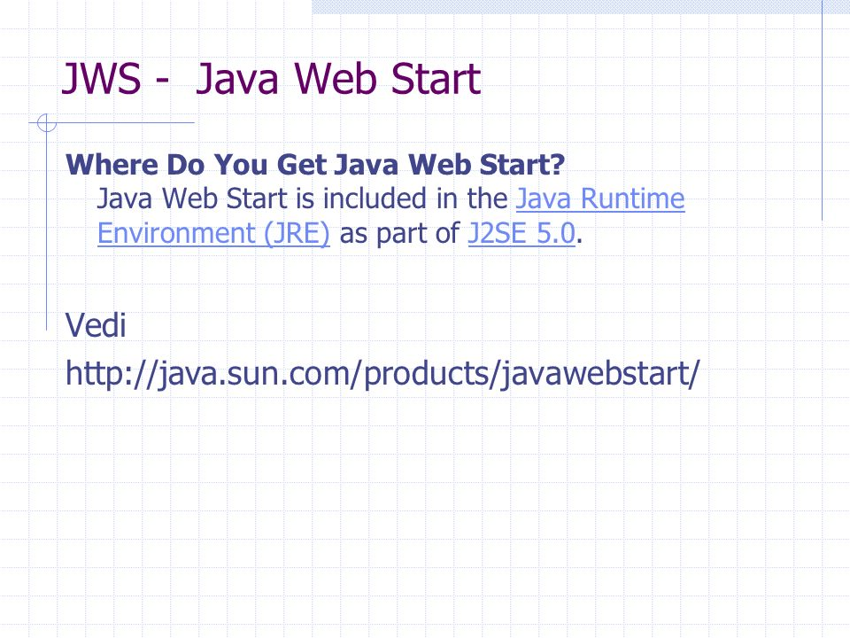 JWS - Java Web Start Where Do You Get Java Web Start? Java Web Start is included in the Java Runtime Environment (JRE) as part of J2SE 5.0.Java Runtim