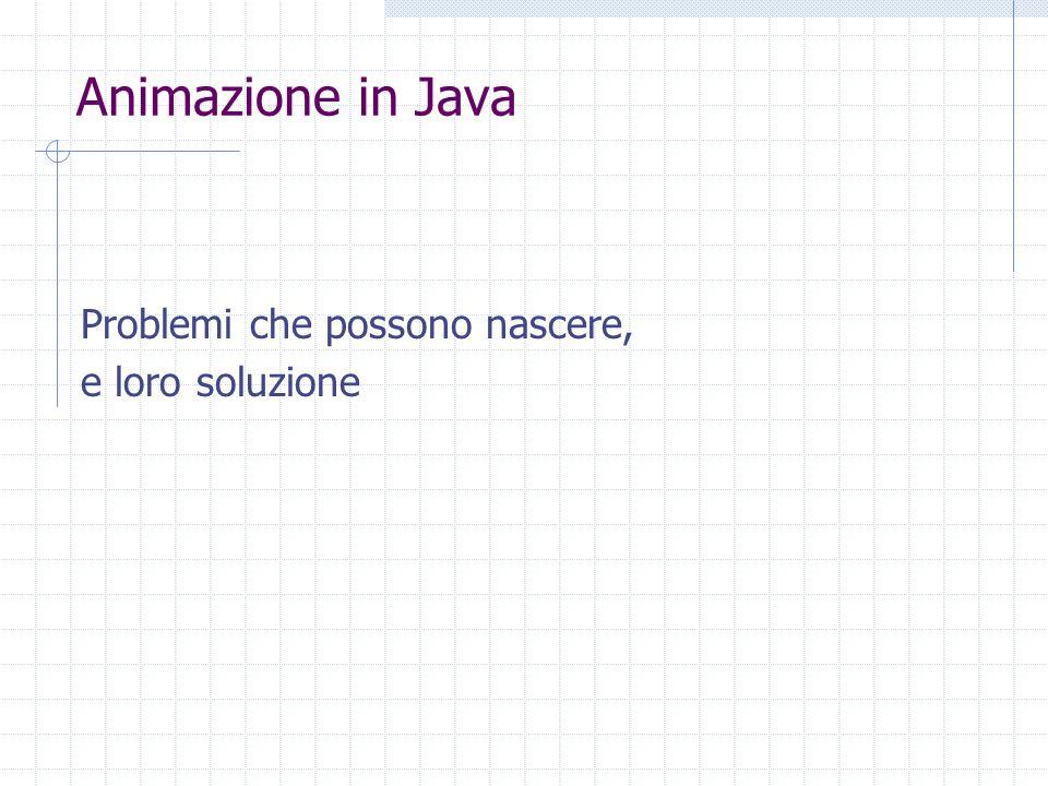 Animazione in Java Problemi che possono nascere, e loro soluzione