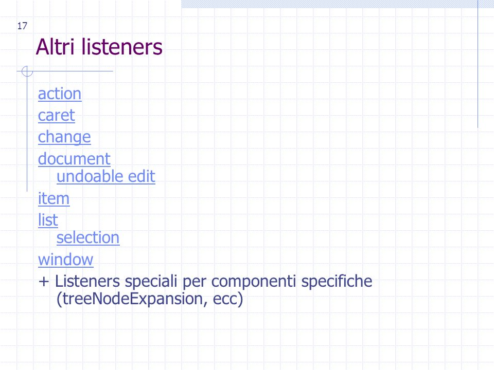 17 Altri listeners action caret change document undoable edit item list selection window + Listeners speciali per componenti specifiche (treeNodeExpansion, ecc)