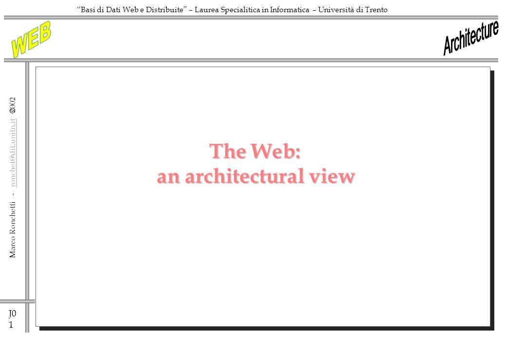 J0 1 Marco Ronchetti - ronchet@dit.unitn.it ronchet@dit.unitn.it Basi di Dati Web e Distribuite – Laurea Specialitica in Informatica – Università di Trento The Web: an architectural view